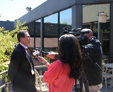 Corbett Public Relations client David Antar, President of A+ Technology and Security Systems being interviewed by FiOS1 and Newsday at a forum on school security.