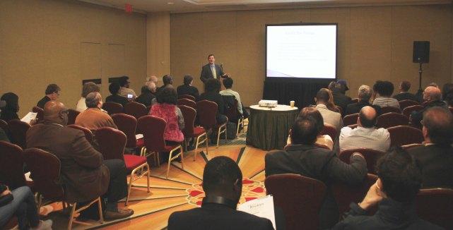 Bill Corbett Jr. giving a seminar at Trade Booklyn, April 15, 2015