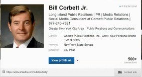 Bill Corbett's LinkedIn profile page.