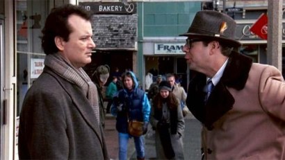 Phil Connors (Bill Murray) and Ned Ryerson in Groundhog Day.