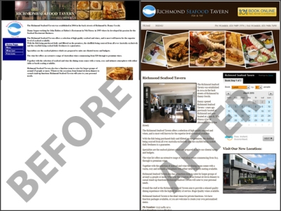 A restaurant website before and after a redesign.