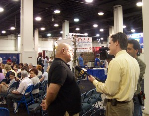 News 12 Long Island conducting an interview during a Home Show at the Nassau Coliseum.