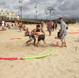 Beach wrestling at the Jersey Shore.